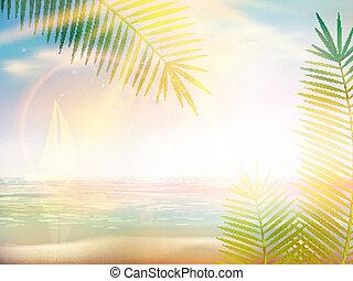 tervezés, tengerpart, caribbean, template., napkelte