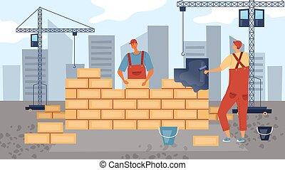 tervezés, vektor, szobafestő, construction., építők, fest, betű, style., ábra, lakás, befog, építő, karikatúra, wall., őt épület