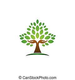 tervezés, vektor, wellness, ikon, természet, fa, jel, jelkép, kéz, fogalom