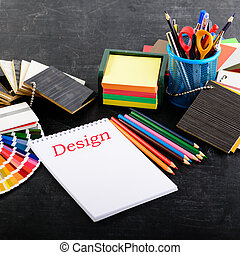 tervező, hivatal., kreatív, workplace, nem, profi, nyílik