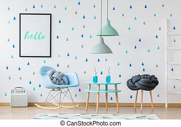 tervező, kék, heccel, szoba