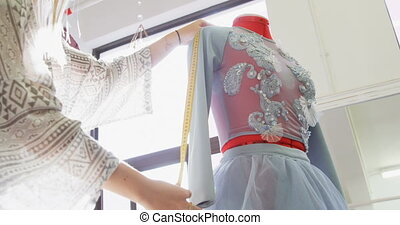 tervező, varrónő, mérés, 4k, mód képez, ruha