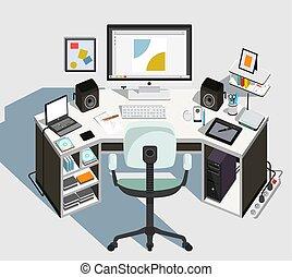 tervező, vektor, workplace., ábra