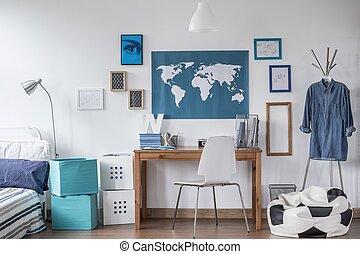tervezett, tanul, szoba