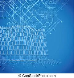 tervrajz, épület, vektor, alaprajzok, háttér