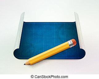 tervrajz, és, ceruza, vektor, ábra