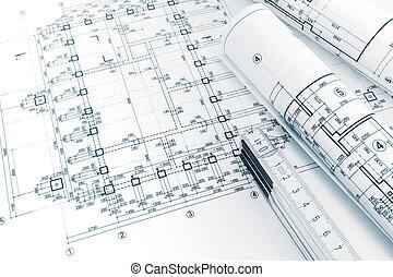 tervrajz, összecsukható, tekercselt, vonalzó, alaprajzok, építész, terv, workspace