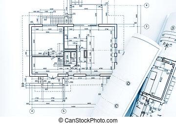 tervrajz, alaprajzok, tekercselt, terv, építészmérnök, workplace