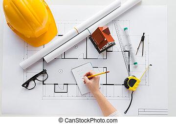 tervrajz, becsuk, építészmérnök, feláll, kéz