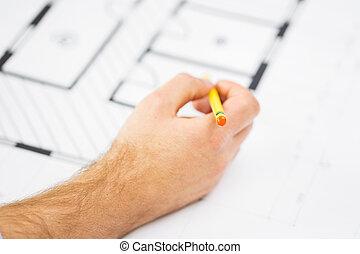 tervrajz, ceruza, feláll, kéz, becsuk, hím