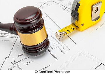 tervrajz, hajtás, fából való, -, bíró, szerkesztés, szalag, ...