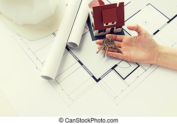 tervrajz, kulcsok, épület, feláll, kéz, becsuk