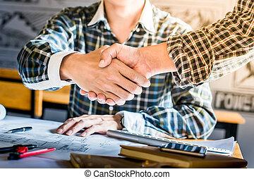 tervrajz, mód, fogalom, építő, -, kéz, építészet, otthon, partner, remegő, helyreállítás, retro
