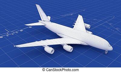 tervrajz, repülőgép, kereskedelmi