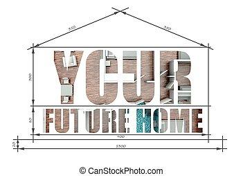 tervrajz, szlogen, épület, jövő, otthon, -e