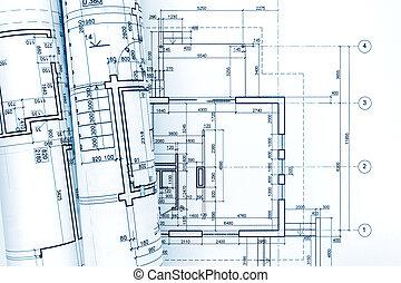 tervrajz, tekercselt, épület, terv, építészeti, helyreállítás