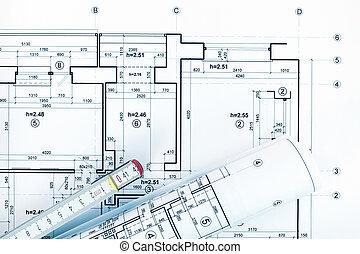 tervrajz, tekercselt, vonalzó, alaprajzok, terv, építészmérnök, workplace