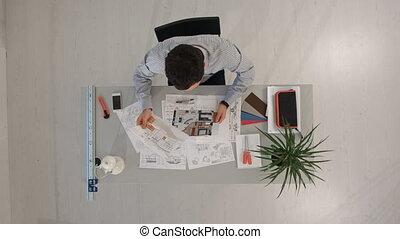 tervrajz, tető, cél, laptop., kilátás, konstruál