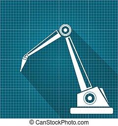 tervrajz, vektor, kezezés., robot fegyver, háttér., dolgozat, tervezés, háttér, robotic, technológia, jelkép