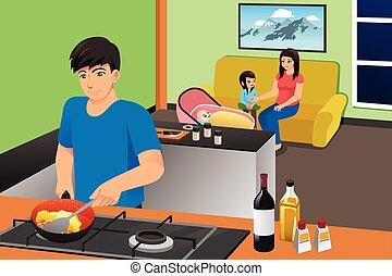 terwijl, illustratie, geitjes, levend, vader, moeder, kamer, het koken
