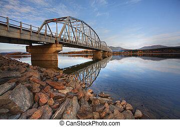 teslin, 호수, 다리, 통하고 있는, 알래스카, 상도