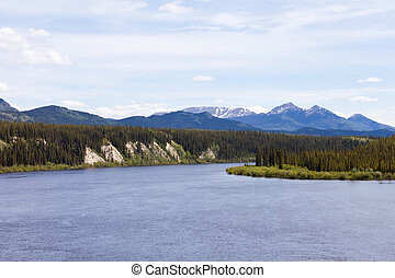 Boreal forest landscape of Teslin River just north of Teslin Lake, Yukon Territory, Canada
