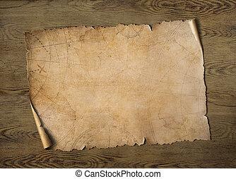 tesoro, 3d, illustrazione, vecchio, legno, tavola, mappa