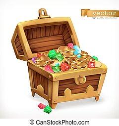 tesoro, chest., gemme, e, oro, monete., 3d, vettore, icona