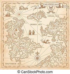 tesoro, hola, vector, detalle, mapa