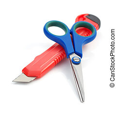tesouras, branca, papel, isolado, faca