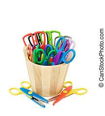 tesouras, coloridos, ofícios