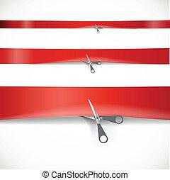 tesouras, corte, anunciando, fita, vermelho