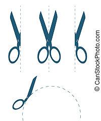 tesouras, corte, ao longo
