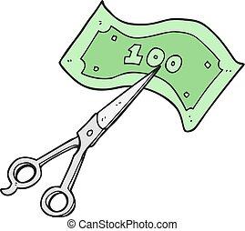 tesouras, corte, caricatura, dinheiro