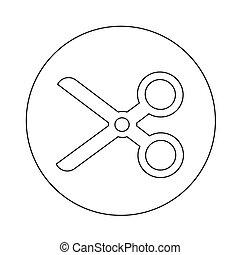 tesouras, corte, desenho, ilustração, ícone