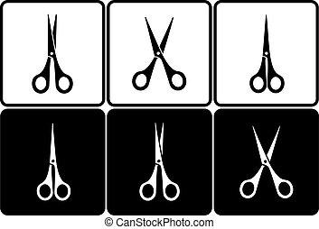 tesouras, corte, jogo
