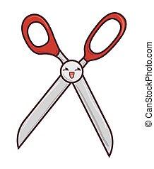 tesouras, corte, personagem, ícone