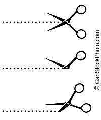 tesouras, corte, pontos