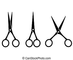 tesouras, corte, pretas, isolado