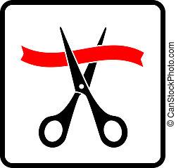 tesouras, corte, preto vermelho, fita