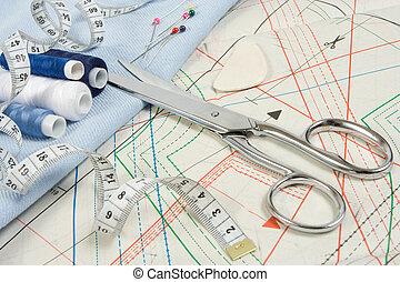 tesouras, cosendo, fundo
