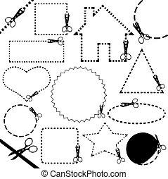 tesouras, diferente, corte, linha