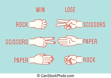 tesouras, game., paper., gestures., rocha, vector., mão, rules.