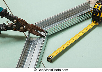 tesouras, medida, metal, fita