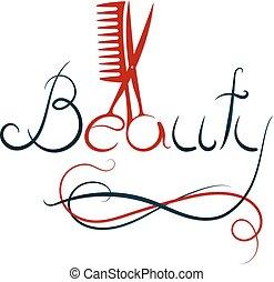 tesouras, pente, beleza, inscrição