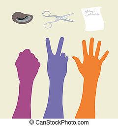 tesouras, rocha, papel, sinal mão