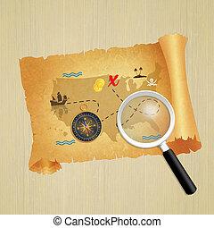tesouro, caça, pergaminho