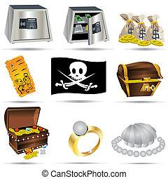 tesouro, jogo, ícones