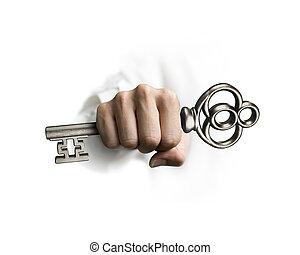 tesouro, segurando, tecla, mão