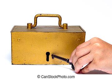 tesouro, tronco, tecla, segurando mão